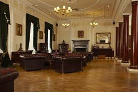 Hotel interior seating area and fireplace beamish hall hotel newcastle upon tyne
