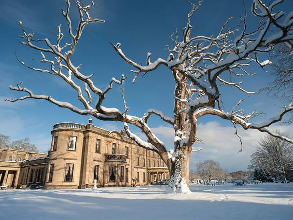 Hotel exterior and grounds in snow beamish hall hotel newcastle upon tyne