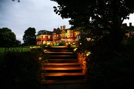 Moor Hall Hotel and grounds at night